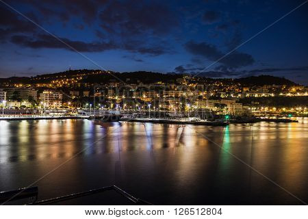 Aerial panorama of NIce at evening. Nice French Riviera France.