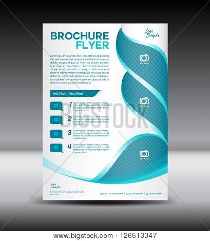 Blue and white Brochure fl yer template newsletter design Leaflet template Layout design vector illustration