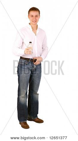 "a man in white shirt with an empty bottle over white  - See similar images of this ""Business People"" series in my portfolio"