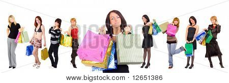 """group of nine shopping girls with a gorgeous one at the front  - See similar images of this """"Sexy shopping women"""" series in my portfolio"""