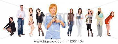 "smiling nurse and many people at the background - concept shot - See similar images of this ""Medical"" series in my portfolio"
