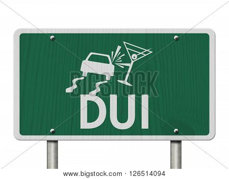 Driving Under the Influence Road Sign A green Road Sign with a car crashing into a martini glass isolated over white