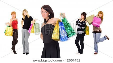 "group of five shopping girls with a stylish one at the front  - See similar images of this ""Gorgeous shopping women"" series in my portfolio"