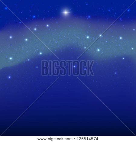 Vector image of the polar stars and the northern lights.