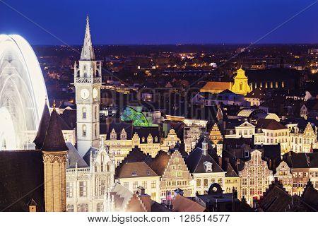 Aerial view of Ghent at night. Ghent Flemish Region Belgium.