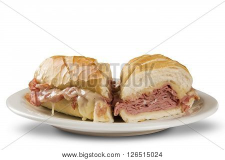 Mortadella traditional Italian sausage sandwich. White background.