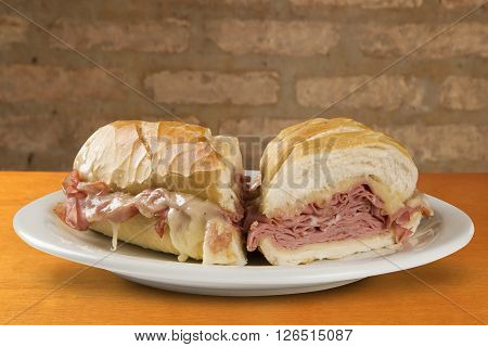 Mortadella traditional Italian sausage sandwich . Wood background