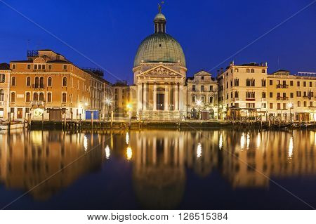 San Simeone Piccolo Church by Grand Canal. Venice Veneto Italy
