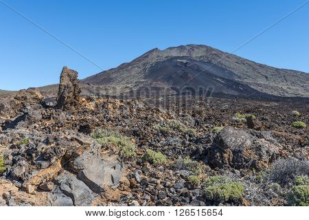 The top of the volcano Teide is surrounded by fields of lava left after the last eruption.