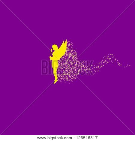 Vector illustration of a forest fairy or elf. Yellow Fairy. Magic dust.