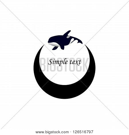 Vector illustration. Logo orca whale. Isolated white background. Grampus. Killer whale.