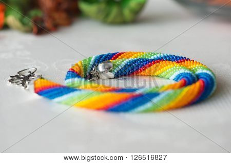 Crochet Necklace Made From Seed Beads Rainbow Colors