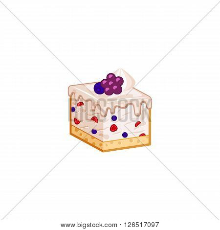 Berries cake isolated on white background. Vector illustration for tasty slices bakery shop. Diet mousse pastry.