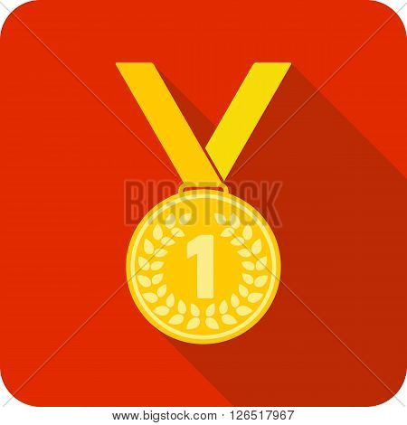 First place award. Gold medal, vector illustration.