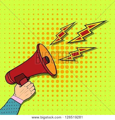 Casual hand holding bullhorn vector illustration, concept of news announcement, loud shout, shouting people, advertisement speech symbol, broadcasting flat modern design isolated on white background