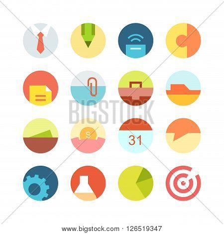 Flat macro business vector icon set - different bright symbols on the colored background