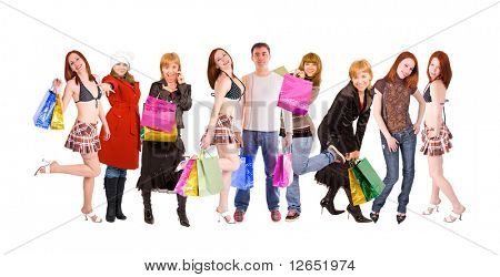 "glad shoppers - girls and a man in the center - See similar images of this ""Groups of people"" series in my portfolio"