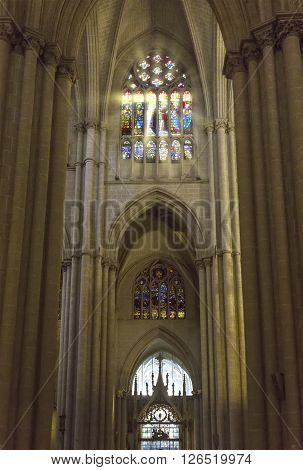 TOLEDO, SPAIN - MARCH, 23, 2016: Interior of the Toledo Cathedral. Cathedral started in 1226 finished 1493