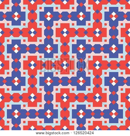 Geometric repeating pattern interwoven lattice. Vector. Abstract colored background.