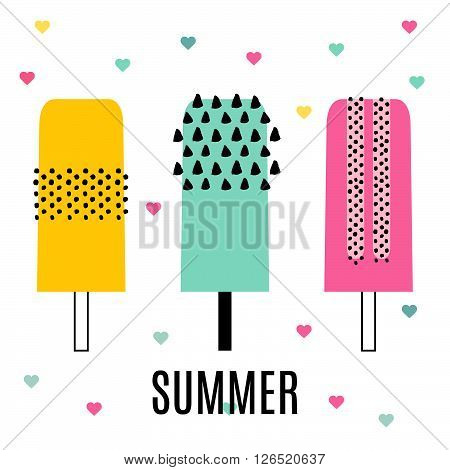 Set of ice cream on a stick with fruit, ice cream, ice lollies. Vector illustration of ice cream in a flat retro memphis style. A collection of ice lolly for design summer menu, ice cream party