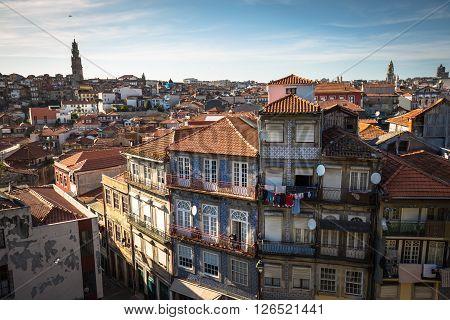 Porto, Portugal - 22 May a2015: Colorful houses of Porto Ribeira Portugal .
