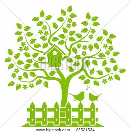 vector flowering tree with nesting bird box and picket fence with couple of birds isolated on white background
