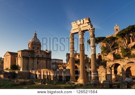 Forum of Caesar in the early morning light Rome Italy