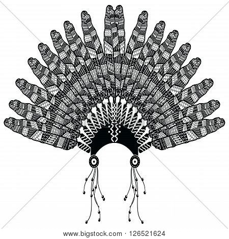 Headdress in Aztec style symbolizing Native American people in black and white in drawing style with decorative zentangle style feathers, beads and tribal ornaments