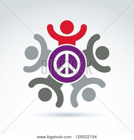 Illustration of a group of people with hands up standing around a peace sign excited hippy community.
