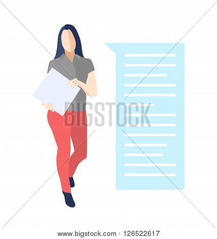 Female in a pose of goods, service presentation standing and holding a folder, book with a bubble speech - modern vector flat design composition