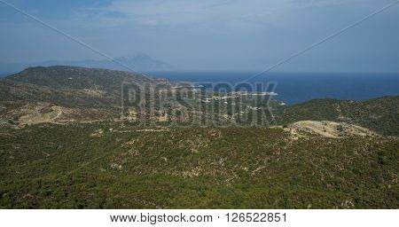 General view over Aegean sea and Mount Athos, Greece, Sithonia. blue sky.