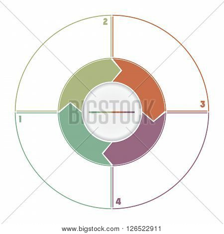 Infographic Ring from Arrows.Template cyclic process numbered for four position
