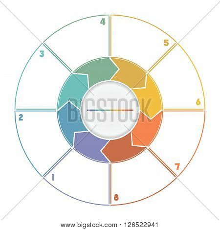 Infographic Ring from Arrows.Template cyclic process numbered for eight position