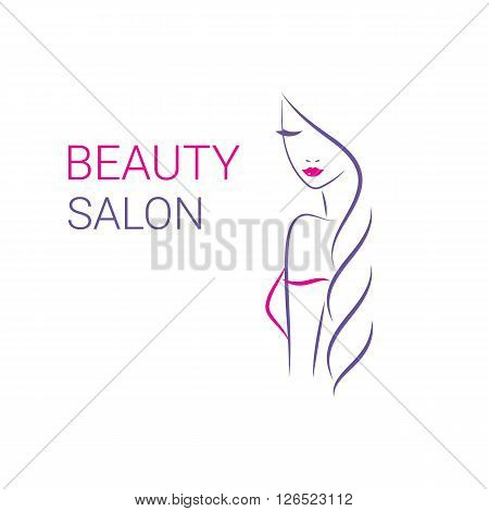 poster of Beautiful woman vector logo template for hair salon, beauty salon, cosmetic procedures, spa center. vector logo template for hair salon, beauty salon, cosmetic procedures, spa center.