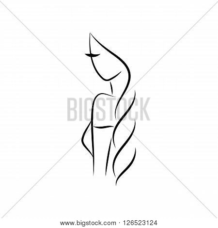Beautiful woman with long hair vector illustration line style. Beauty logo design element for hair salon, beauty salon, cosmetic procedures, spa center.