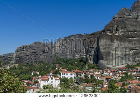 Town of Kastraki, Meteora mountains in Thessaly, Greece. blue sky