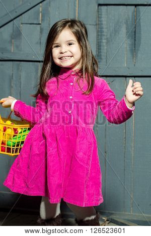 Girl With Plastic Food In Basket