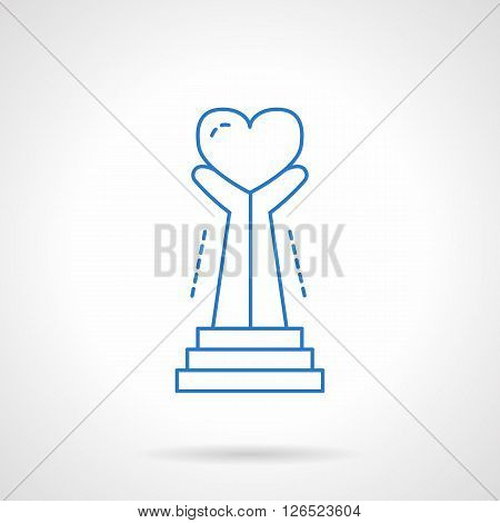 Sign with hands hold heart. Symbol of life care and life saving. Charity and donations. Volunteering. Flat line style vector icon. Single design element for website, business.