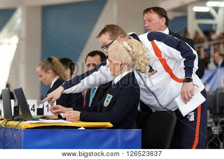 ST. PETERSBURG, RUSSIA - APRIL 16, 2016: Dutch coach discusses the moment of the match with referees. 346 athletes from 22 countries participated in the competition