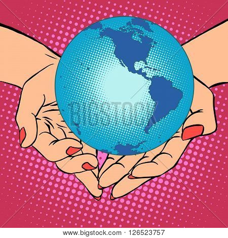 Planet Earth in hands pop art retro style. Earth day, environment Day. Ecology and nature. Female hands. South and North America