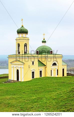 Old church in Khotyn, Western Ukraine in the springtime