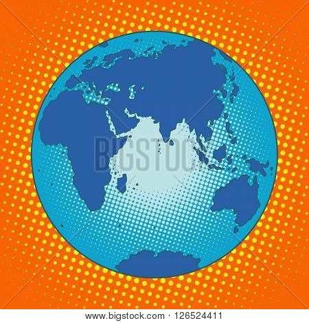 Earth Eurasia Africa Australia Antarctica Asia Europe pop art retro style. The globe map. Eastern hemisphere. Blue planet
