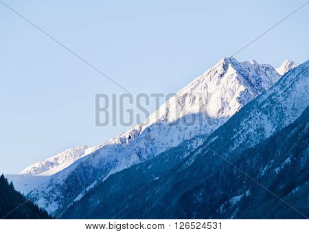 View on peak of Stubai Alpen in Tyrol