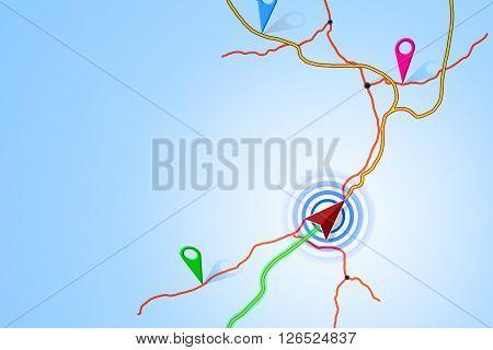 Cartographic Illustrations Map Navigation On Blue Background