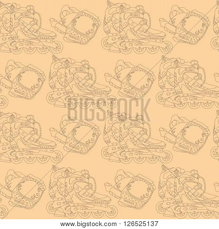 Seamless vector pattern with roller skates and roller skating protective gear. Can be used for graphic design, textile design or web design.