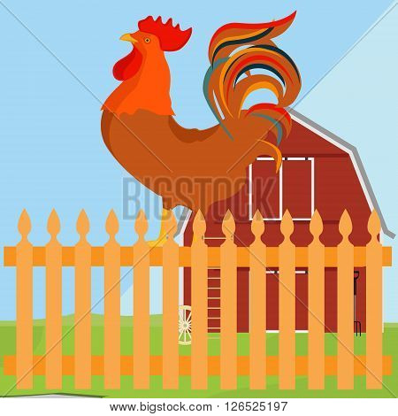 Vector illustration early bird concept. Rooster on fence in a countryside