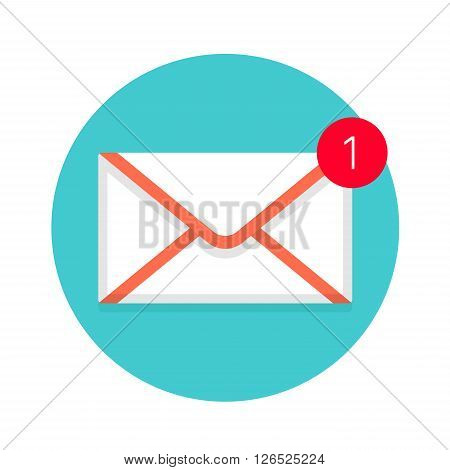 Icon of new mail envelope. White envelope with red marker on a mint background. Vector illustration