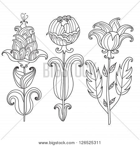 Coloring page for adults coloring book.Vector Beautiful Monochrome Contour Flower in a doodle stule. Floral Design Element. Can be used for pattern fills, web page background, surface textures, tattoo or card.