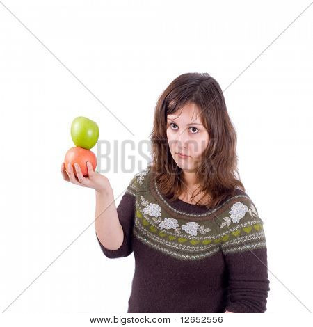 "girl with 2 apples  - See similar images of this ""Healthy women"" series in my portfolio"
