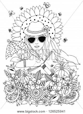 Vector illustration zentangl, doodle portrait of a woman, a girl in a floral hat box. Summer, sunglasses, umbrella, sun, sunflower. Coloring book anti stress for adults. Black and white.